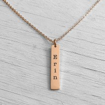 Drop Bar Necklace Rose Gold