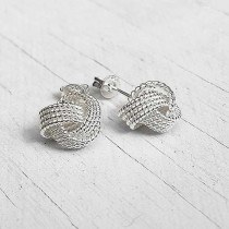 Sterling Silver Knot Tennis Earrings