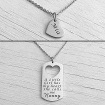 Mother Daughter Necklace Silver