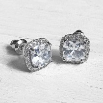 Square Cubic Zirconia Stud Earrings